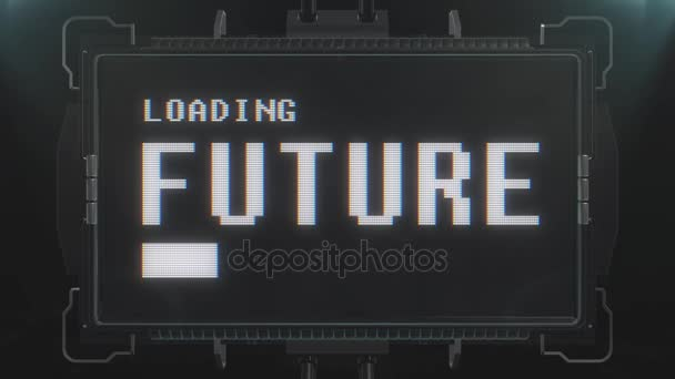 Retro Videogame Loading Future Text On Futuristic Tv Glitch Interference Screen Animation Seamless Loop New Quality Universal Vintage Techno Motion Dynamic Background Colorful Joyful Cool Video
