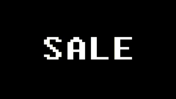 colorful pixel Sale text jumping seamless loop animation - new quality retro vintage motion joyful addvertisement commercial video footage
