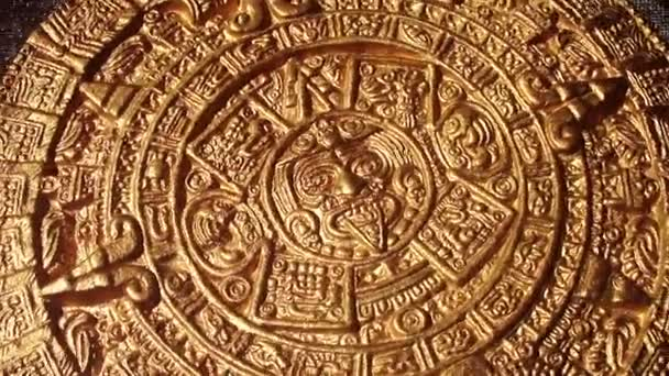 golden image of aztec sun circle rotating new quality historic native footage