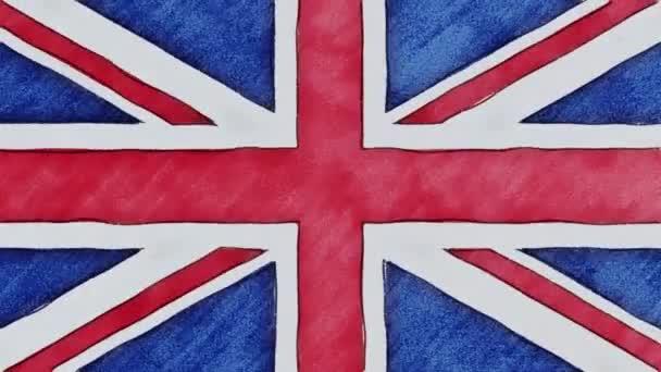 Stop-Motion von Bleistift gezeichnet britische Flagge Zeichentrick - neue Qualität patriotischen bunte Nationalsymbol Videomaterial