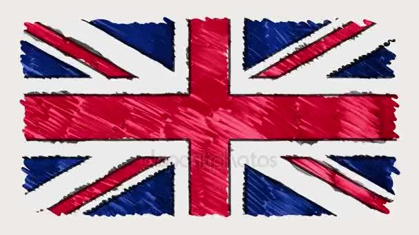 Stop-Motion von Marker gezeichnet britische Flagge Zeichentrick - neue Qualität patriotischen bunte Nationalsymbol Videomaterial
