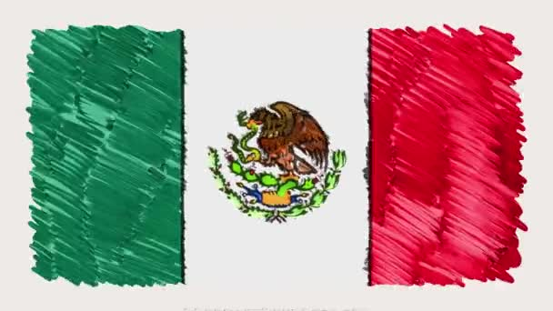 Stop Motion Of Marker Drawn Mexico Flag Cartoon Animation