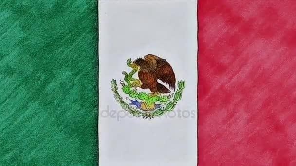 Detener El Movimiento De Lápiz Dibujado México Bandera