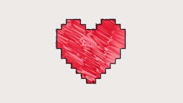 Stop Motion Dessinée Marqueur Pixel Coeur Forme Cartoon Animation Boucle Fond Nouvelle Qualité Universelle 4k Grunge Vintage Mouvement Dynamique Arrière Plan Animé Coloré Joyeuse Cool Vidéos