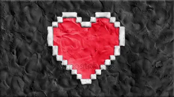 zastavení pohybu clay se pixel srdce tvar kreslené ručně vyráběné jako animace tok dokumentů smyčky - nové kvalitní romantické svatební symbol video záběry