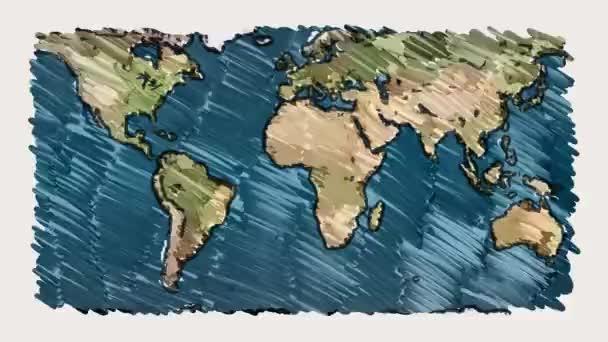Planet earth mapovou značkou na bílé tabuli pozadí bezešvé nekonečné smyčky animace - nové kvalitní jedinečné ručně kreslený dynamické radostné video záběry