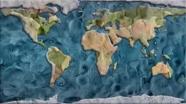Clay planet earth map background seamless endless loop animation - new  quality unique handmade cartoon dynamic joyful video footage