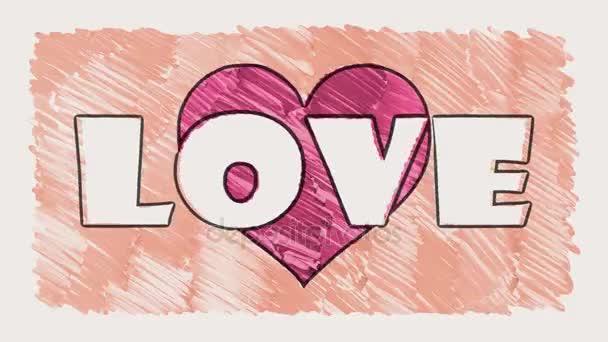 Stop Motion Drawn Marker Heart Shape Love Word Cartoon Animation Extraordinary Heart Cool Love