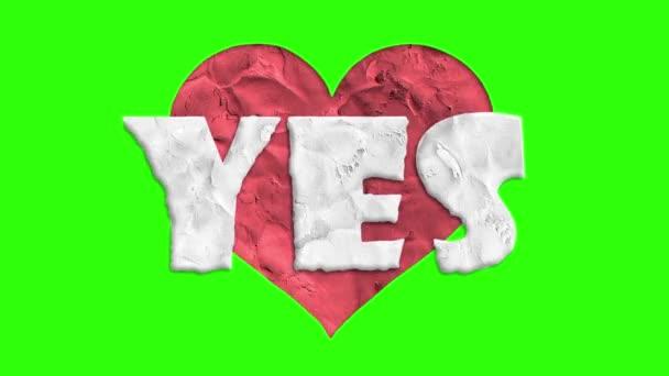 zastavení pohybu tvar srdce clay Ano slovo kreslené animace bezešvé smyčka chroma key zelená obrazovka pozadí... Nové kvalitní univerzální grunge vintage pohybu dynamickou animované barevné radostné cool video