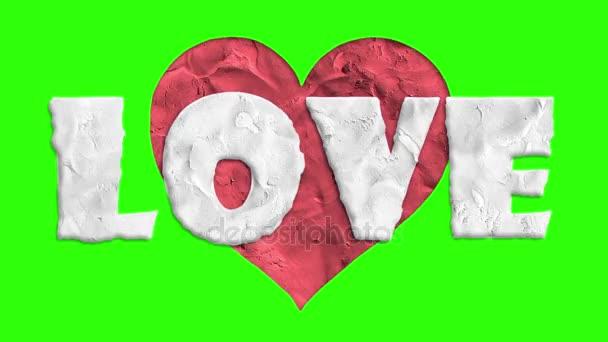 zastavení pohybu clay se srdce tvar láska slovo kreslené animace bezešvé smyčka chroma klíče fabion pozadí... Nové kvalitní univerzální grunge vintage pohybu dynamické animované barevné radostné video