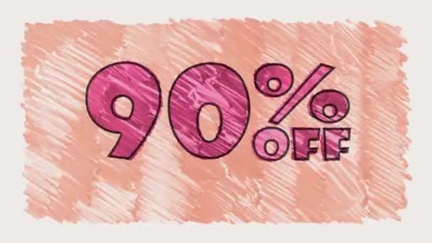 90 % sleva značky na tabuli text karikatury tažené bezešvé smyčka animace - nové kvalitní retro vintage pohybu radostné addvertisement komerční video záběry