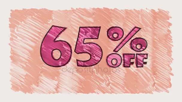 65 % sleva značky na tabuli text karikatury tažené bezešvé smyčka animace - nové kvalitní retro vintage pohybu radostné addvertisement komerční video záběry