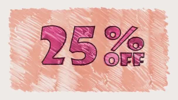 25 percent off discount marker on blackboard text cartoon drawn seamless loop animation - new quality retro vintage motion joyful addvertisement commercial video footage