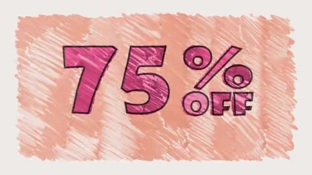 75 percent off discount marker on blackboard text cartoon drawn seamless loop animation - new quality retro vintage motion joyful addvertisement commercial video footage