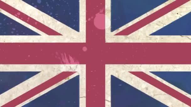 Stop-Motion gezeichnete Grunge britische Flagge Zeichentrick, die nahtlose Schleife - neue Qualität patriotischen bunte Nationalsymbol Videomaterial