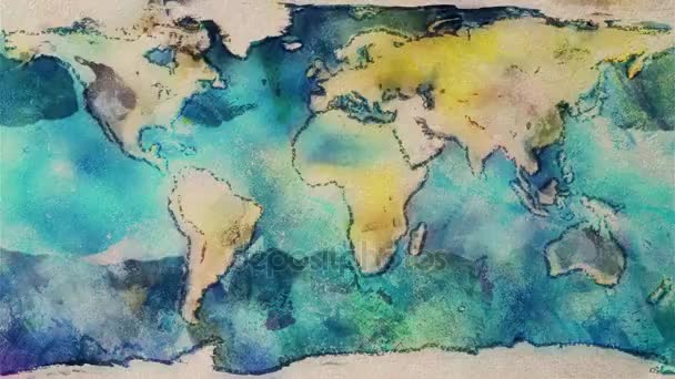 watercolor planet earth map seamless endless loop stop motion cartoon animation new quality unique handmade