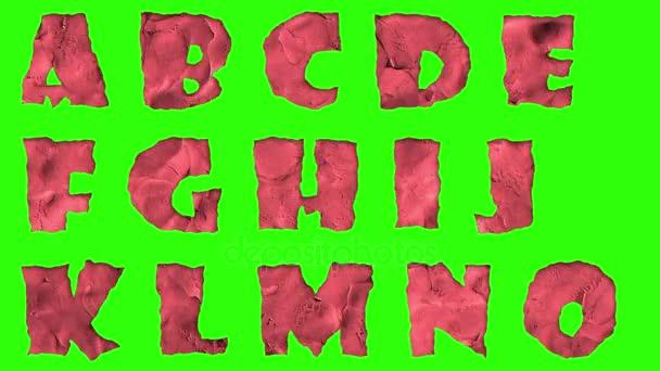 animovaná hlína písmo izolované na chroma key zelená obrazovka pozadí animace, všechna písmena, interpunkci a čísla - nové kvalitní dynamické kreslené radostné colorfool Plastelíny záběry