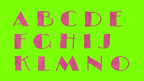 animovaný papírové vystřihovací retro vintage písmo izolované na chroma key zelená obrazovka pozadí animace, všechna písmena, interpunkci a čísla - nové kvalitní dynamické kreslené radostné colorfool záběry