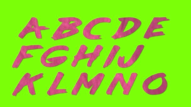 animated paper cutout retro vintage font isolated on chroma key green screen background animation all letters, punctuation, and numbers - new quality dynamic cartoon joyful colorfool footage