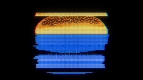 disegnata marcatore pixel burger glitch fumetto animazione handmade loop senza soluzione di continuità lcd schermo sfondo... Nuova qualità universale vintage interrompere movimento dinamico animato colorato gioiosa cool riprese video