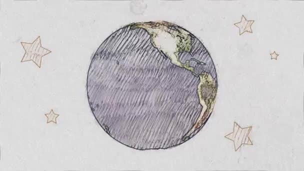 cartone animato penna disegnata pianeta terra globo spin su bianco vecchia carta seamless loop infinito animazione di sfondo - nuova qualità unici fatti a mano retrò vintage fermata movimento dinamico gioiosa riprese video