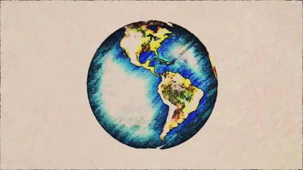 cartone animato penna disegnata pianeta terra globo spin su vecchia carta sfondo seamless loop infinito animazione sfondo bianco - nuova qualità unici fatti a mano retrò vintage fermata movimento dinamico gioiosa riprese video
