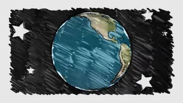 cartoon marker drawn planet earth globe stars spin on white blackboard background seamless endless loop animation new quality unique handmade retro vintage stop motion dynamic joyful video