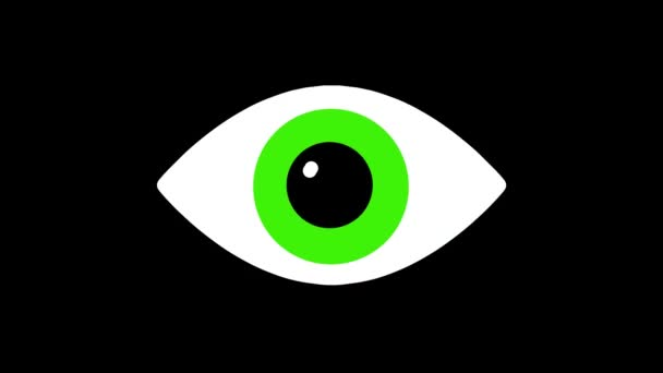 nervózní Rgb zelené oko symbol na lcd led obrazovky zobrazení pozadí animace bezešvé smyčka... Nové kvalitní univerzální zblízka vintage dynamické animované barevné radostné cool video záznam