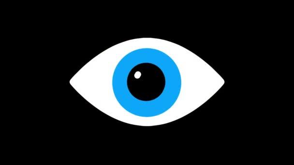 nervózní Rgb modré oko symbol na lcd led obrazovky zobrazení pozadí animace bezešvé smyčka... Nové kvalitní univerzální zblízka vintage dynamické animované barevné radostné cool video záznam