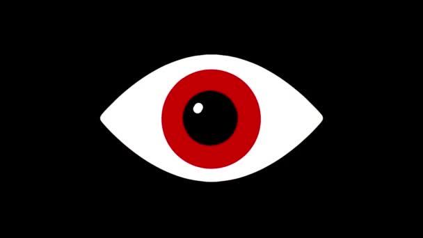 nervózní symbol Rgb efekt červených očí na lcd led obrazovky zobrazení pozadí animace bezešvé smyčka... Nové kvalitní univerzální zblízka vintage dynamické animované barevné radostné cool video záznam
