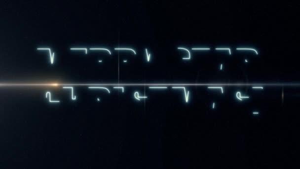 měkký modrý laser neon Star veselý text s animaci lesklé světle optické světlic na černém pozadí - nové kvalitní retro vinobraní pohybu dynamickou dovolenou radostné prodej videozáznam smyčka