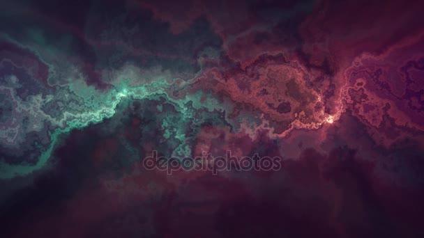Přírodní krásné mramorové turbulentní vzor červené zelené texturu pozadí animace - nové jedinečné kvality barevné radostný pohyb barvivo účinek vlny dynamickou dovolenou mineralogie věda těžby videozáznam