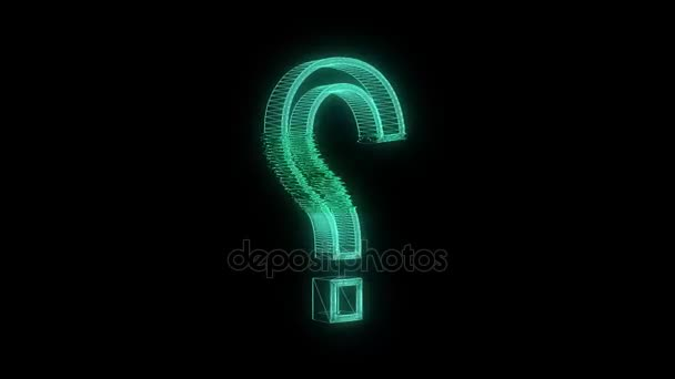 green wireframe question sign spin on glitch interference display animation background seamless loop - new quality retro vintage numbers letters techno neon joyful video footage