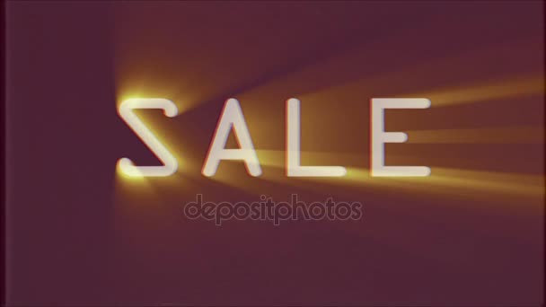 shiny Sale word text light rays moving on old vhs tape retro effect tv screen animation background seamless loop - New quality universal retro vintage colorful motivation video