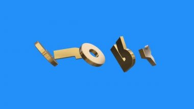 golden GLORY word gathering from letters parts spin animation on blue screen background - new quality unique financial business animated dynamic motivation motion 3d text glamour video footage