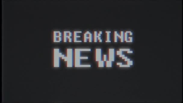 pixel slovo zprávy o počítače staré tv vhs projeví závada rušení hluku obrazovku animace bezešvé smyčka - nové kvalitní univerzální vintage pohybu dynamický animovaný pozadí barevné radostné video