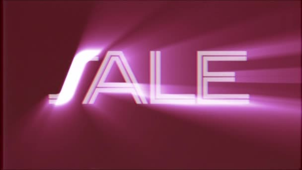 shiny Sale word text pink light rays moving on old vhs tape retro effect tv screen animation background seamless loop New quality universal retro vintage colorful motivation video