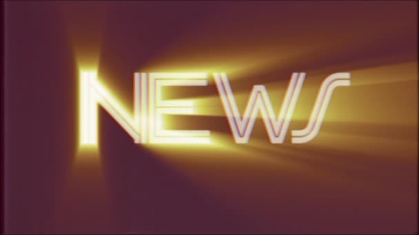 fényes Hírek word szöveg fénysugarak mozog a régi vhs szalag retro hatása tv képernyő animációs háttér folyamatos hurok - új minőségű univerzális retro vintage színes motiváció videóinak