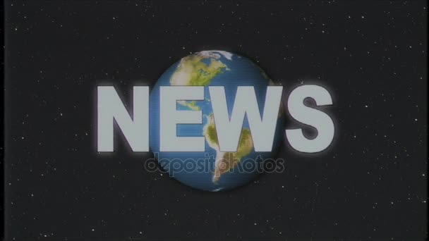 shiny retro news text with earth globe moving on old vhs tape retro