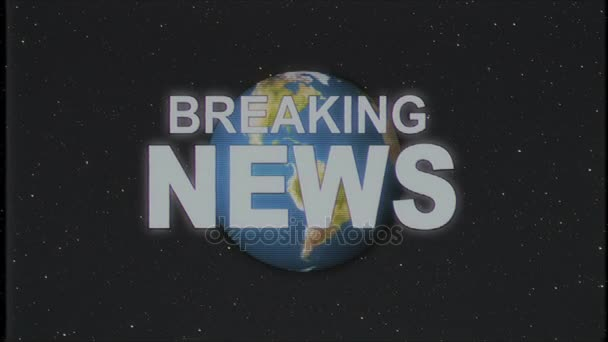 Shiny Retro BREAKING NEWS Text With Earth Globe Old Vhs Tape Intro Effect Tv Screen