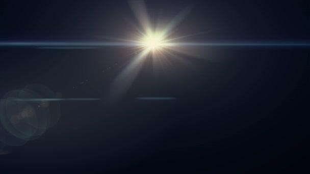 horizontální teplého slunce světla optické čočky světlice lesklé animace umění pozadí - nové kvalitní přirozené osvětlení lampy paprsky efekt dynamické barevné světlé video záběrů