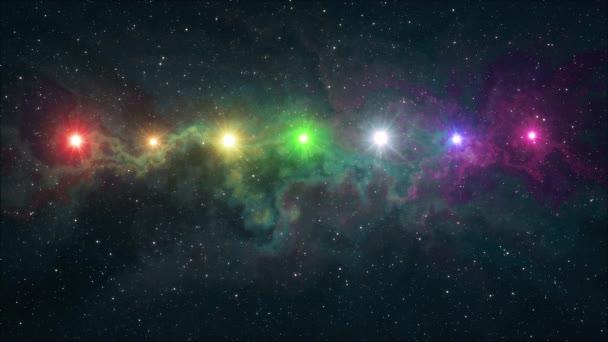 sedm duha barevné hvězdy blikající lesk v měkké pohybující mlhovina noční obloha animace pozadí nové kvality přírody malebné cool barevné pěkné světlo videozáznam
