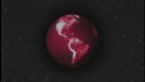 Red noise earth globe rotating in stars space old vhs tape glitch  interference retro intro effect tv screen animation background loop New  quality universal retro vintage colorful cool nice video