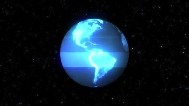 HUD földgömb forgatásával a csillag tér fénylik zaj interferencia retro intro hatása tv képernyő animáció háttér hurok új minőségű univerzális retro vintage színes hűvös szép videofelvétel