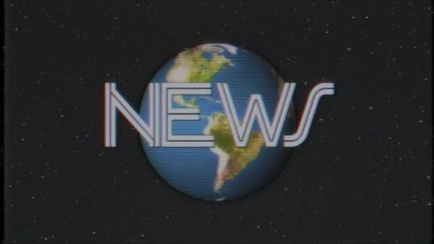 Föld földgömb forgatásával a csillag tér Hírek word vhs szalag fénylik zaj interferencia retro intro hatása tv képernyő animációs háttér loop új minőségű univerzális retro vintage színes hűvös szép felvételeket
