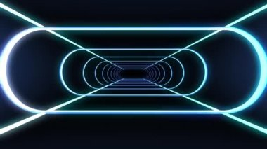 Flying in a retro futuristic space with glowing neon