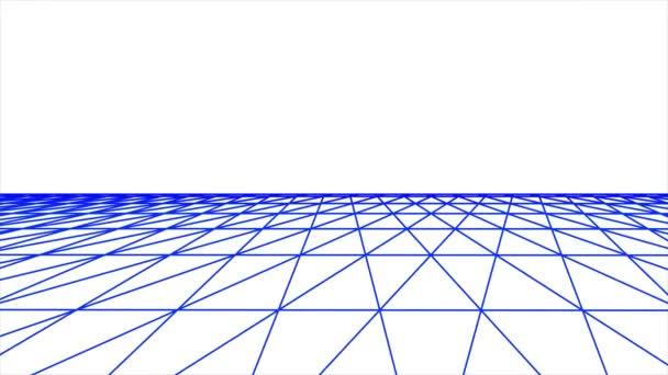 Seite Flug retro cyberspace grid net polygonal drahtgebundene Ebene Landschaft nahtlose Schleife Zeichnung Bewegung Grafik Animation Hintergrund neue Qualität vintage style cool schön schön 4k Videomaterial
