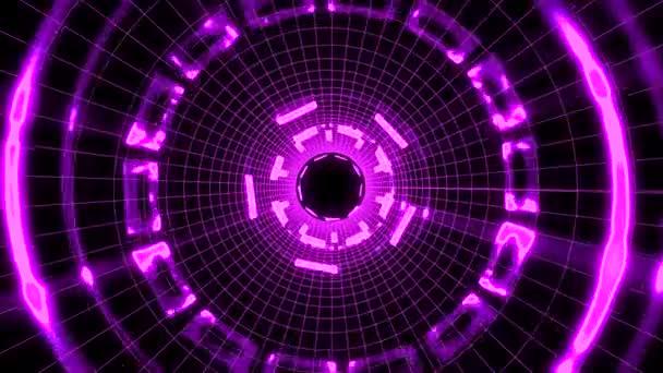 Flucht aus durch Block Gitter Neonlichter abstrakte Cyber-Tunnel Bewegungsgrafik Animation Hintergrund Schleife neue Qualität Retro futuristischen Vintage-Stil cool schön schöne Videoaufnahmen