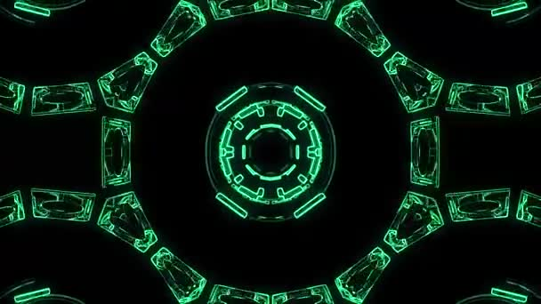 Flight in out through block hud display neon lights abstract cyber tunnel motion graphics animation background loop new quality retro futuristic vintage style cool nice beautiful video footage