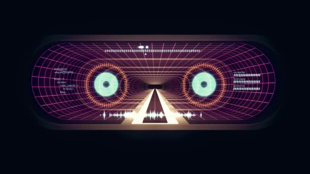 In volo attraverso luci rosso Vr White al neon viola griglia cyber tunnel Hud interfaccia motion grafica animazione sfondo nuova qualità retrò vintage stile futuristico fresco bello bellissimo video footag